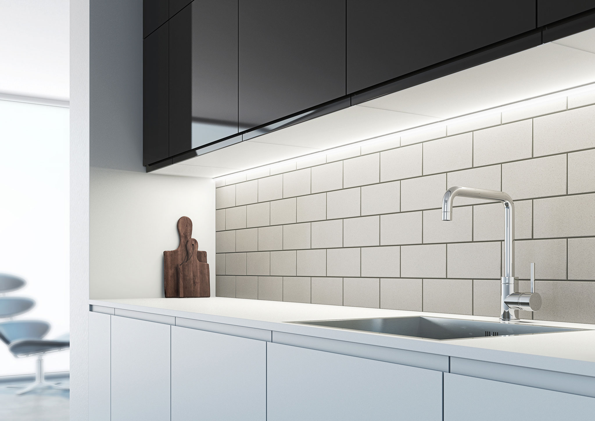 Sensio Cool White Arrow Slim Profile SLS LED Strip Light mounted under cabinet.
