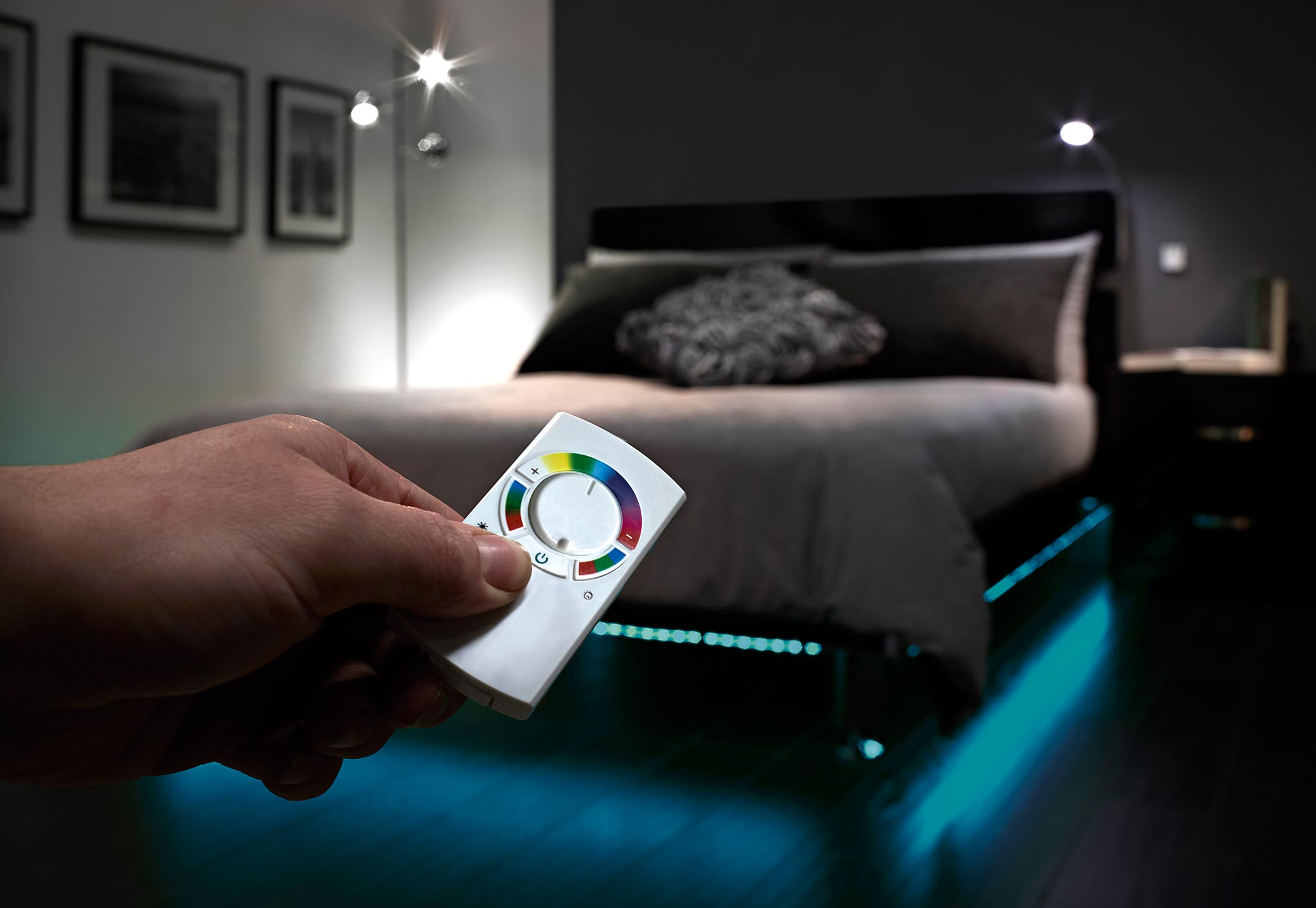 Sensio RGB Colour Changing LED Strip Lighting with Sensio RGB remote control.
