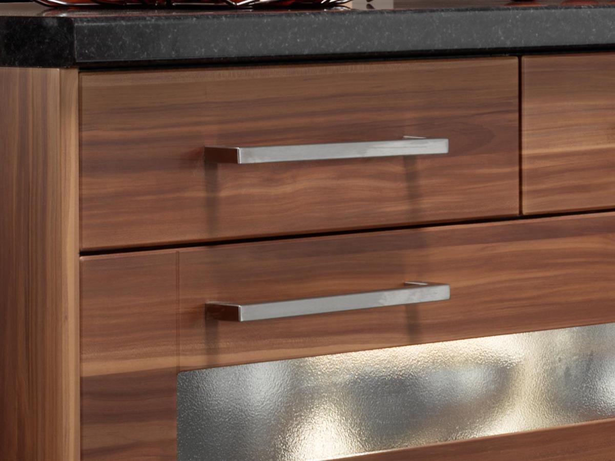 14 x 14 Square Handles on Aspire Autumn Plum Shaker drawers.