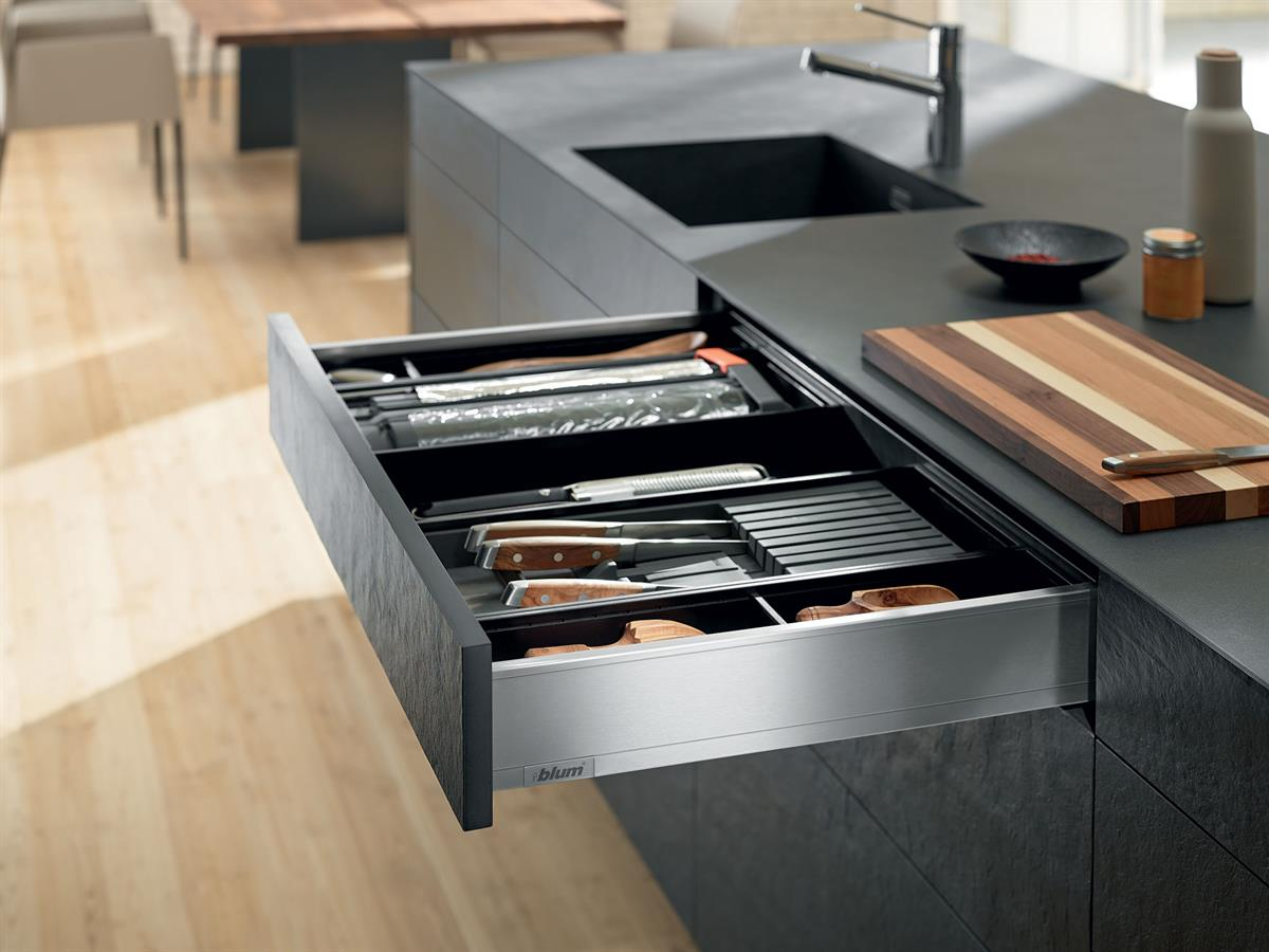 M-Height Legrabox Drawer in Stainless Steel.