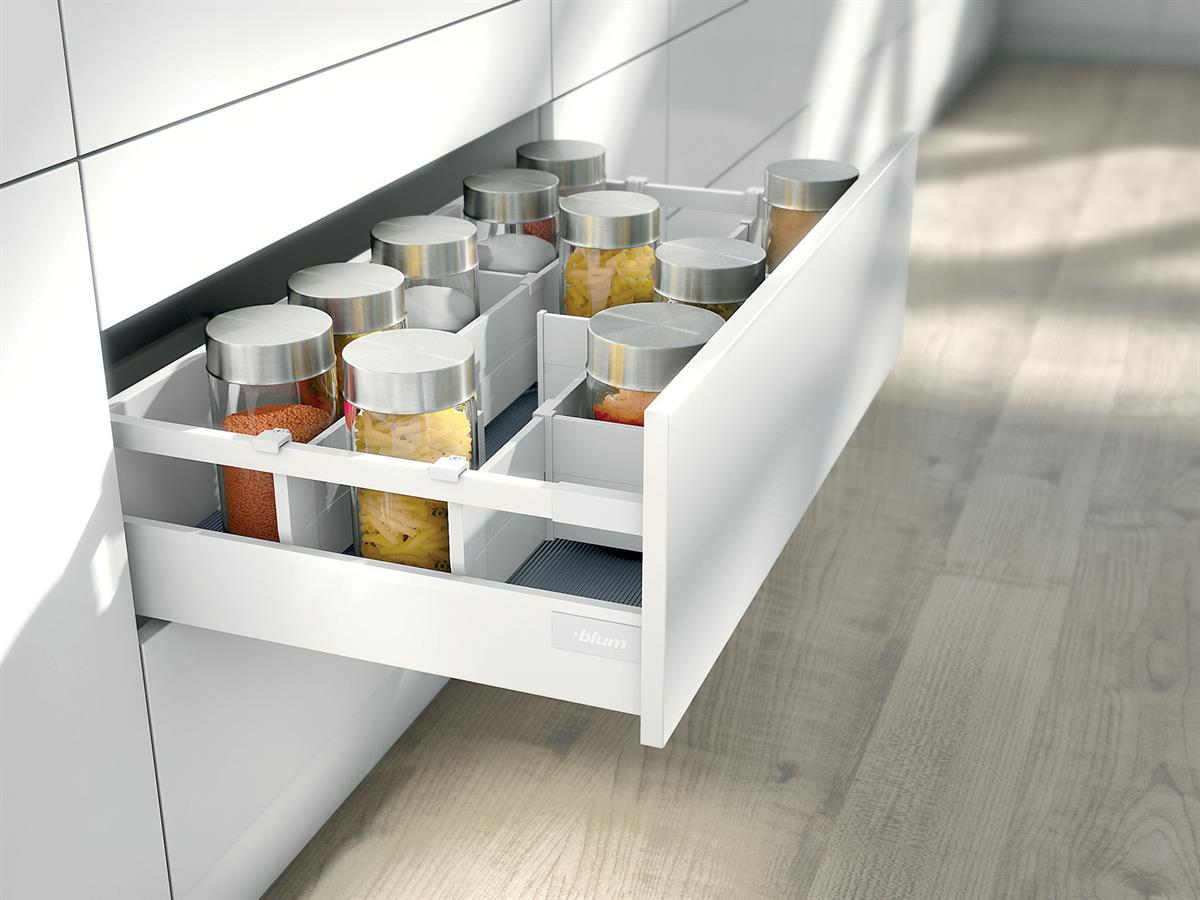 D-Height Antaro Pan Drawer with Single Gallery Rail in Silk White with Orga-Line Cross Dividers.